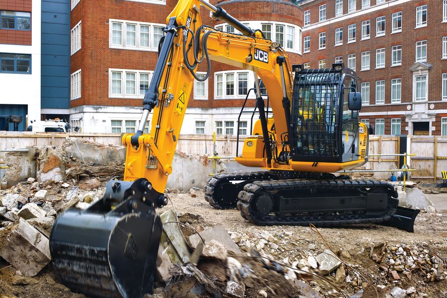 Tracked excavator, application, demolition site